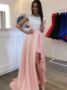 A Line Round Neck Cap Sleeves Split Pink Satin and White Lace Long Prom Dresses, Simple Evening Dresses