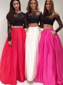 2018 Ball Gown Two Piece Round Neck Open Back Black Lace Long Sleeves Long Prom Dresses, Formal Prom Dresses