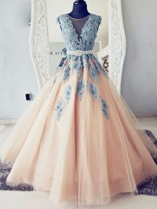 Ball Gown Round Neck Teal Blue Lace and Peach Tulle Long Prom Dresses
