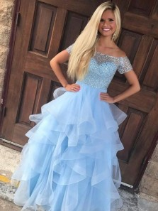 Ball Gown Off the Shoulder Light Blue Organza Long Prom Dresses with Beading, Quinceanera Dresses, Tiered Gown