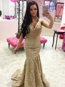 Mermaid V Neck Cross Back Gold Lace Long Prom Dresses, Gorgeous Prom Dresses