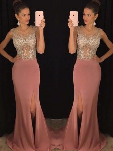 Mermaid Round Neck Blush Split Long Prom Dresses with Beading, Formal Evening Party Dresses