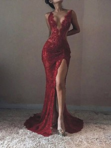 Chic Mermaid V Neck Backless Burgundy Lace Long Prom Dresses with Beading, Evening Dresses PD1211003