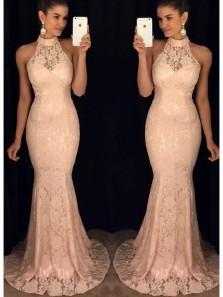 Chic Mermaid Halter Open Back Peach Lace Long Prom Dresses, Elegant Evening Prom Dresses