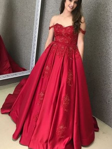 Ball Gown Off the Shoulder Sweetheart Dark Red Appliques Long Prom Dresses with Pockets, Quinceanera Dresses