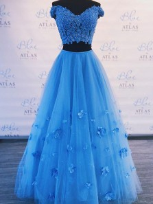 A Line Two Piece V Neck Blue Long Prom Dresses with Appliques, Quinceanera Dresses