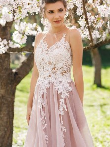 A Line Halter Pink Tulle White Lace Prom Dresses, Beautiful Prom Dresses