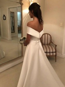 A Line Off the Shoulder White Satin Long Wedding Dresses with Pockets