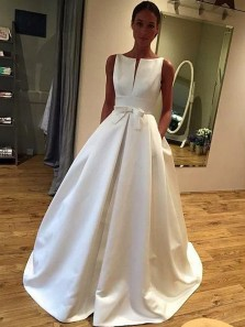 Vintage Ball Gown Scoop Neck Open Back White Satin Long Wedding Dresses with Pockets