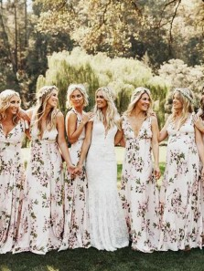 A Line V Neck Chiffon Floral Print Long Bridesmaid Dresses, Grass Bridesmaid Gowns