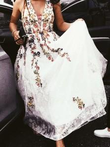 A Line V Neck Floral Embroidery White Lace Long Prom Dresses, Unique Prom Dresses PD1219004