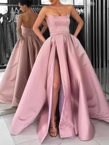 Ball Gown Strapless Split Blush Pink Satin Long Prom Dresses with Pockets, Elegant Evening Dresses