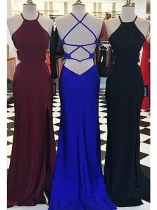 Simple Mermaid Cross Back Black/ Burgundy Elastic Satin Split Prom Dresses, Formal Prom Dresses Under 100 PD1219006
