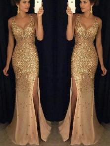 Mermaid V Neck Open Back Gold Split Long Prom Dresses with Beading, Evening Dresses