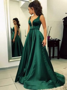 Ball Gown V Neck Dark Green Satin Long Prom Dresses with Pockets, Formal Evening Dresses