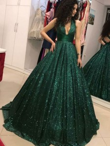Ball Gown V Neck Halter Dark Green Sequins Long Prom Dresses, Burgundy Formal Long Prom Dresses