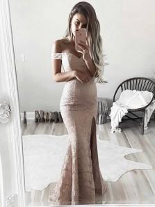 Chic Mermaid Off the Shoulder Blush Pink Lace Long Prom Dresses with Split, Elegant Evening Dresses