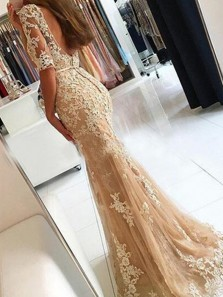 Mermaid Scoop Half Sleeves Champagne Lace Long Prom Dresses, Chic Lace Evening Dresses