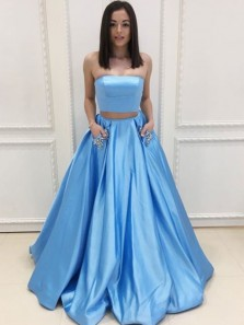 Ball Gown Two Piece Strapless Blue Satin Long Prom Dresses with Pockets, Elegant Evening Dresses with Beading