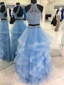 Ball Gown Two Piece Halter Backless Blue / Champagne Lace Long Prom Dresses, Irregular Prom Dresses, Tiered Gown