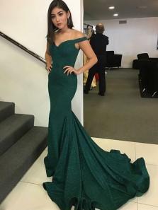 Mermaid Off the Shoulder Dark Green Sparkly Fabric Long Prom Dresses, Elegant Evening Dresses PD1223009