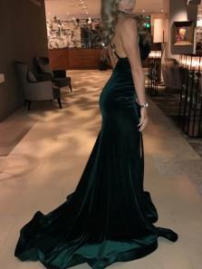 Mermaid V Neck Open Back Dark Green Velvet Long Prom Dresses, Sexy Split Evening Dresses