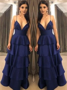 Unique A Line V Neck Spaghetti Straps Navy Satin Long Prom Dresses, Tiered Gown Elegant Evening Dresses