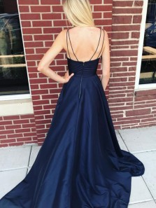 Ball Gown V Neck Spaghetti Straps Navy Split Long Prom Dresses with Pockets, Evening Dresses PD1225006