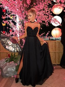 A Line Sweetheart Spaghetti Straps Black Beading Prom Dresses with Split, Sparkly Evening Party Dresses PD1225008