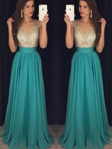 A Line Round Neck Cap Sleeves Teal Chiffon Long Prom Dresses with Beading, Evening Dresses PD1226001