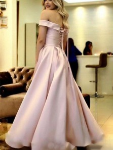 Ball Gown Off the Shoulder Blush Pink Satin Long Prom Dresses with Bandage, Formal Evening Dresses