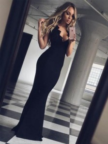 Mermaid V Neck Spaghetti Straps Black Long Prom Dresses with Lace, Sexy Evening Dresses