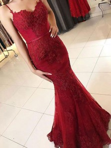 Mermaid Spaghetti Straps Burgundy Lace Long Prom Dresses, Formal Evening Dresses