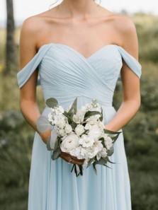 Sheath Off the Shoulder Chiffon Ligh Blue Long Bridesmaid Dresses Under 100