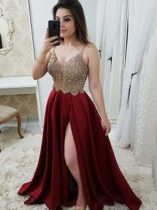 A Line V Neck Spaghetti Straps Gold Lace Burgundy Long Prom Dresses, Charming Evening Dresses PD1226008