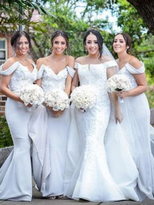 Mermaid Sweetheart Off the Shoulder Spaghetti Straps Light Blue Bridesmaid Dresses, Light Blue Bridesmaid Gowns