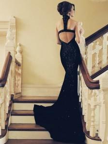 Mermaid Halter Open Back Black Satin Long Prom Dresses with Beading, Formal Prom Dresses