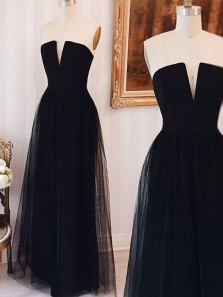 Simple A Line V Neck Black Tulle Long Prom Dresses, Formal Prom Dresses, Long Evening Dresses