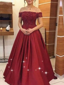 Ball Gown Off the Shoulder Burgundy Satin Lace Prom Dresses with Pockets, Sparkly Prom Dresses PD1227005