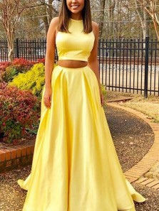 Two Piece Round Neck Yellow Satin Long Prom Dresses with Pockets, Evening Dresses
