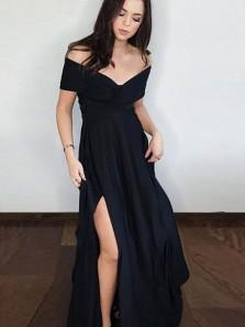 A Line Off the Shoulder Side Split Black Chiffon Long Prom Dresses, Black Evening Dresses