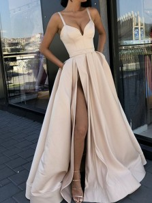 Ball Gown V Neck Spaghetti Straps Side Split Champagne Long Prom Dresses with Pockets PD1227004