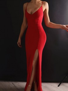Sheath V Neck Spaghetti Straps Red Elastic Satin Long Prom Dresses Under 100 Fitted Jersey Dresses PD1227006