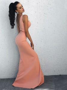 Sheath V Neck Open Back Blush Pink Split Long Prom Dresses, Chic Evening Dresses Under 100