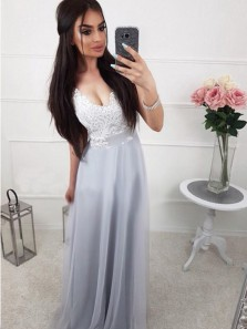 Simple A Line V Neck Grey Chiffon Lace Long Prom Dresses, Chic Evening Dresses