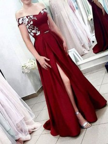 Elegant Ball Gown Off the Shoulder Burgundy Satin Split Long Prom Dresses with Lace, Formal Evening Dresses PD1229003