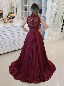 Ball Gown High Neck Burgundy Lace Long Prom Dresses with Beading, Formal Evening Dresses PD1229006