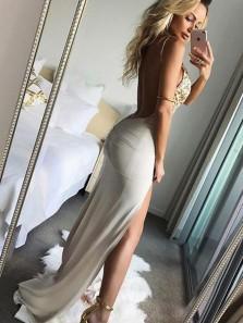 Grey Sheath V Neck Open Back Spaghetti Straps Split Long Prom Dresses with Lace, Chic Evening Dresses