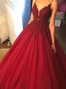Ball Gown V Neck Spaghetti Straps Open Back Burgundy Prom Dresses, Lace & Beading Quinceanera Dresses