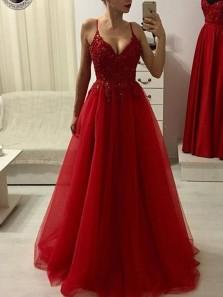 A Line V Neck Spaghetti Straps Dark Red Lace Prom Dresses, Elegant Evening Dresses